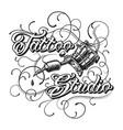 vintage tattoo studio monochrome logotype vector image vector image