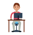 young boy uses computer desk chair design vector image