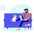 young man working at home as freelancer vector image vector image