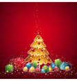 with christmas tree and many gifts vector image