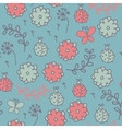 Romantic seamless pattern with ladybugs flowers vector image