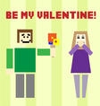 Valentine day postcard with square boy and girl vector image
