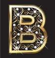 B gold letter with swirly ornaments vector image vector image