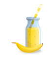 banana smoothie bottle icon cartoon style vector image