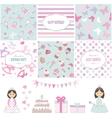 Birthday and girl baby shower design elements vector image vector image