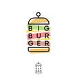 burger hub logo fast food restaurant emblem vector image