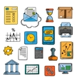 Business office financial symbols sketch style vector image vector image