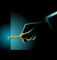 businessman hand holding a golden key vector image vector image