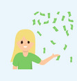 cartoon woman showing on money rain vector image