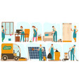 cleaning service workers in uniform cartoon vector image