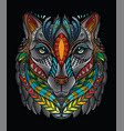 colorful wolf vector image vector image