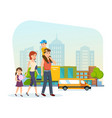 family for shopping at mall got out of store vector image vector image