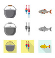 fish and fishing icon set vector image