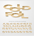 font golden foil letters cut out and bent vector image vector image
