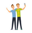 friends make a group selfie photo on camera vector image