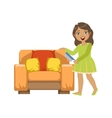 Girl Cleaning Dust Off Armchair WIth Brush vector image vector image