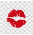 girl red lipstick kissmark print silhouette vector image