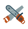 Hand saw and chainsaw flat isolated on vector image