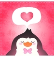Happy Valentines day card with penguin and heart vector image vector image