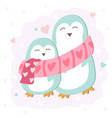 happy valentines day with cute penguin couple vector image vector image