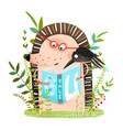 hedgehog and crow friends reading book vector image vector image