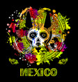 image of a dog in ethnic style mexican dog vector image vector image
