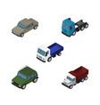isometric transport set of lorry freight truck vector image vector image