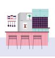 kitchen interior fridge utensils spices in shelf vector image