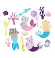 little mermaid kitten collection kitty cat with vector image