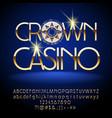 luxury gold crown casino emblem vector image