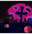 Pink and blue halloween landscape vector image