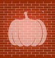 pumpkin sign whitish icon on brick wall vector image vector image