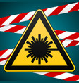 safety sign caution - danger laser radiation vector image vector image