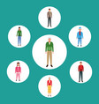 set avatar people standing and wearing casual vector image vector image