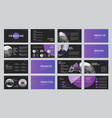 set black slide templates with gradient purple vector image vector image
