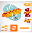 Set hot dog symbol vector image