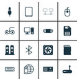 set of 16 computer hardware icons includes radio vector image vector image