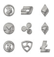 silver cryptocurrency trendy 3d style icon vector image vector image