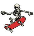 skull skateboarding do ollie trick vector image vector image