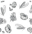 vegetable pattern hand drawing in doodle style on vector image vector image