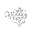 vintage wedding day text on white vector image