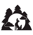 wolf forest howl icon simple style vector image