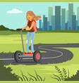 young sportive woman riding on segway scooter on vector image vector image