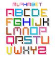 Colorful Retro Alphabet ABC Simple Digital Set vector image