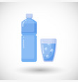 bottle and glass of water flat icon vector image