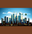 modern cityscape in the evening big city scene vector image