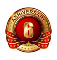 6 anniversary golden label with ribbon
