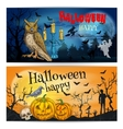 Artistic posters and cards for Happy Halloween vector image vector image
