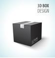 cardboard black closed box 3d vector image vector image