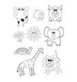 cartoon animals coloring book vector image vector image